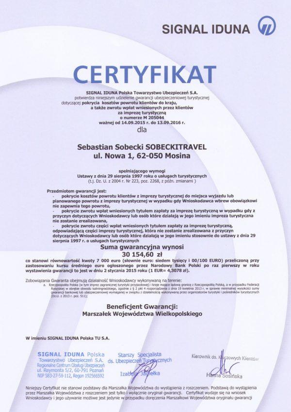 Certyfikat Signal Iduna 2016